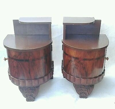 Antique Pair Italian Art Deco Walnut & Inlaid Palissandre Nightstands Bedside