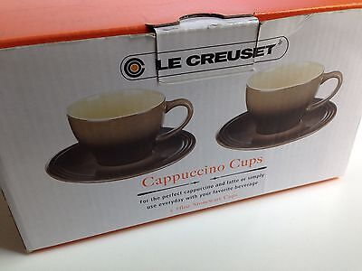 LE CREUSET Coffee Tea Cappuccino Cups & Saucers, Set of 2, Beige Brown