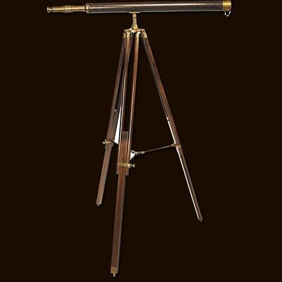 Nautical Classic Telescope Wooden Tripod Stand Solid Brass Long Tube and Leather