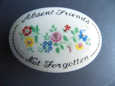 crown staffordshire bone china trinket box absent friends not forgotten