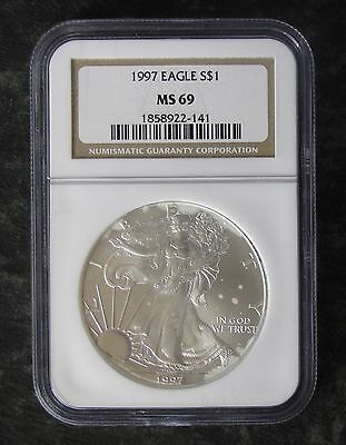 1997 NGC MS69 Uncirculated American Silver Eagle $1 Dollar Coin - No Reserve