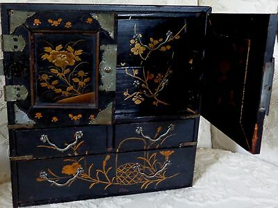 Antique Japanese Black Lacquered Wooden Jewelry Box  9 Inches Tall. Excellent
