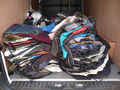 MASSIVE JOB LOT of UNCLAIMED LOST PROPERTY BAGS JACKETS CLOTHES HATS SCARVES