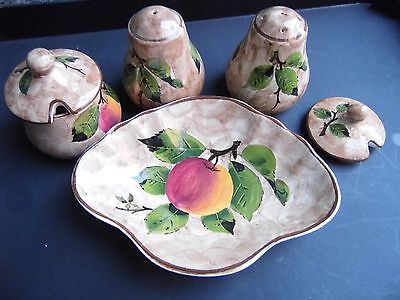 bovey pottery devon china salt pepper cruet with plate and mustard pot apple