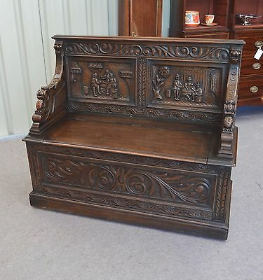 Fine Victorian carved oak monks bench settle hall bench