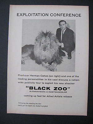 1963 Rare BLACK ZOO Motion Picture Movies Scarce Trade Ad Allied Artists