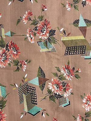 6.5YDs NOS VTG MCM Ranch Atomic Floral Abstract Brown Turquoise Barkcloth Fabric