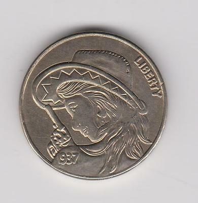 Hobo Nickel Style - Cowgorl with 6 Shooter - Novelty Coin