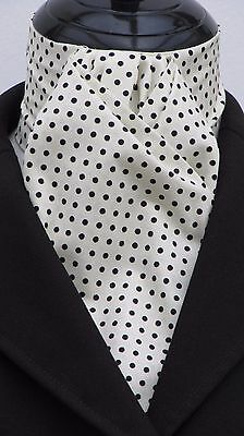 Ready Tied Cream & Navy Blue Pin Dot Cotton Dressage Riding Stock - Show Hunting