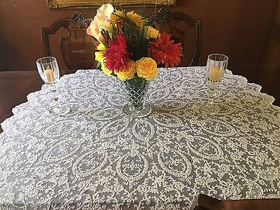 """Antique Tambour Lace Tablecloth Round 52"""""""