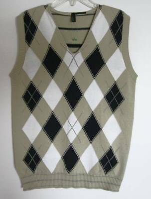 Benetton Boys Navy/Beige/White Argyle Vest (8/9) NWT