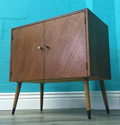 Retro Mid Century Very Quaint Vintage Walnut 50S Record Cabinet