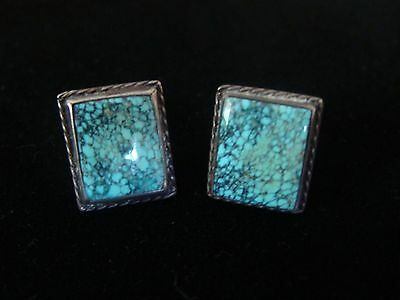 Beautiful Old Pair of Navajo Silver Natural Turquoise (Spiderweb) Cufflinks EXC!
