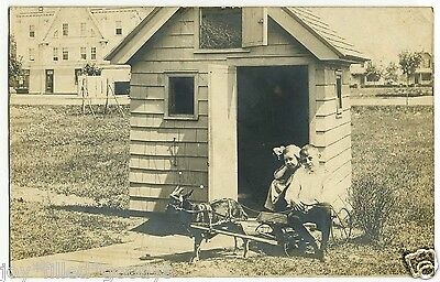 1900s BROOKLYN BOY & GIRL WITH THEIR GOAT CART & PLAYHOUSE REAL PHOTO POSTCARD