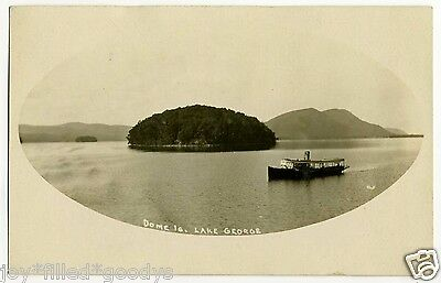 1900s DOME ISLAND & BOAT ON LAKE GEORGE ADIRONDACK MOUNTAINS NY REAL PHOTO PC