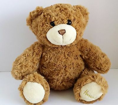 "Harrods Teddy Bear Light Tan Dark Brown Eyes Tail 9"" Sitting"