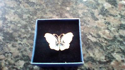 Made  By  A.n.a  Vintage 925 Silver  Enamelled Butterfly Brooch Made In Norway