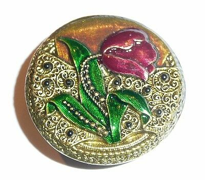 Pretty Antique Reproduction Metal Red Tulip Shank Button 1-1/4""