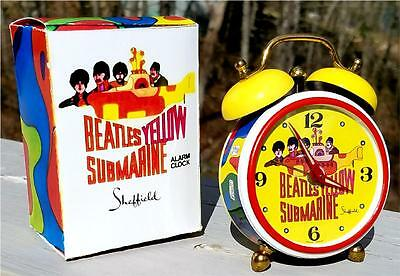 Gorgeous 1968 REPRO Beatles Yellow Submarine Alarm Clock in Box by Sheffield