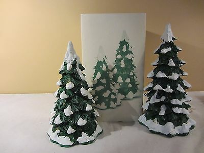 Dept 56 LIGHTED SNOW CAPPED TREES Village Accessories Set of 2 #52604  (217)