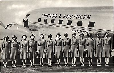 Chicago & Southern Stweardesses Airline Issue. Aviation Airplane Postcard