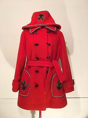 Vintage 1970s Hudson Bay Red Wool Coat Made In Canada Inuit Bird Accents Retro