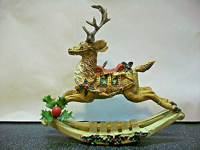 Hvy Elegant Reindeer Ornament Huge Antlers On Sleigh Hang On Tree Or Stand Alone