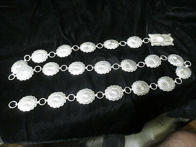 OLD PAWN NAVAJO STERLING SILVER 20 CONCHO BELT SIGNED RA 150g 42""