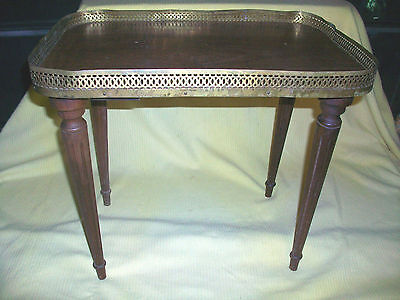 Oblong Antique Wooden End Side Table W Design Edging Plant Collectible Furniture