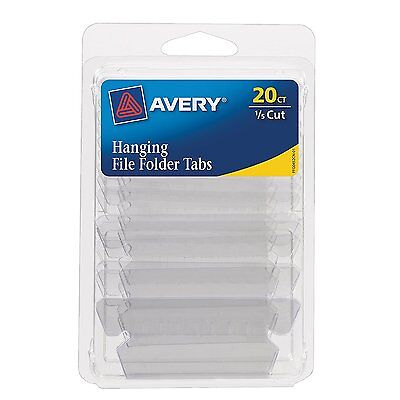 Avery Hanging File Tabs, 1/5 Cut, Clear, Permanent, Pack of 20  6727