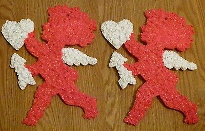 "2 Melted Plastic Popcorn Valentine's Day 13"" Red Cupids w Heart & Arrow Made USA"