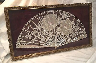 LARGE VICTORIAN SILK & LACE MOTHER OF PEARL FAN IN SHADOW BOX 30x17
