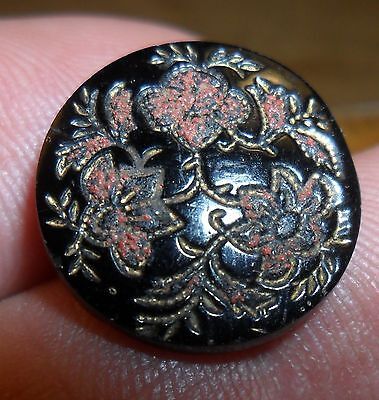 "WOW 11/16"" Red Painted Flowers  GlassBlack Antique Button 15:7"