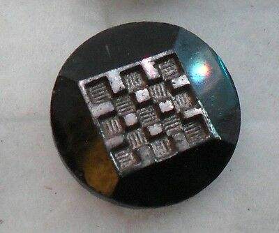 "WOW 3/4"" Silver Luster Square GlassBlack Antique Button 489:14"