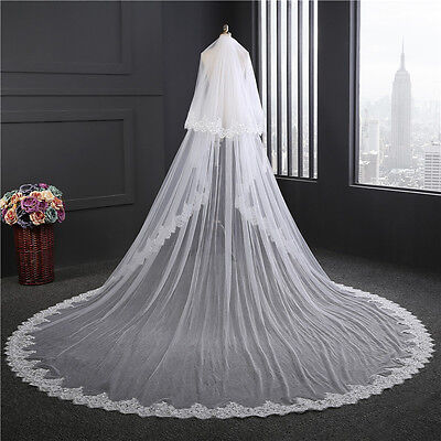 2 Tier Bridal Veil wth Sequined Lace Edge Cathedral Length Blusher Veil Comb on