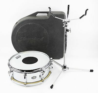 Vintage Slingerland 14 x 6 Snare Drum Niles Badge 1970's Chrome W/ Case & Stand