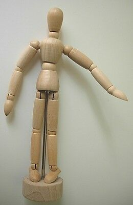 """Artist MANIKIN Wooden MANNEQUIN 6.5"""" Tall HUMAN Model on BASE Movable Limbs POSE"""