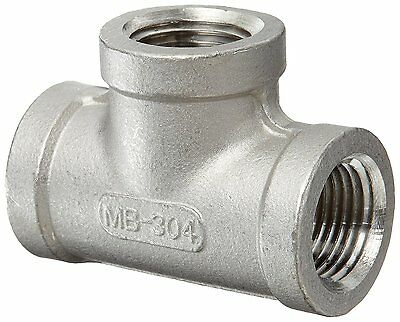 "Stainless Steel 304 Cast Pipe Fitting, Tee, Class 150, 1/8"" NPT Female"
