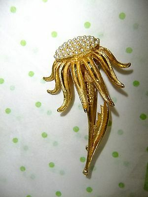 Vintage BSK Flower Brooch W/ Seed Pearls. Signed. Gold-Tone Setting. Gorgeous.