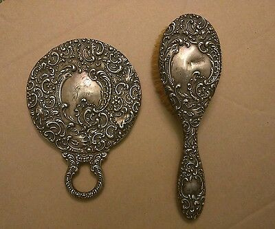 Vintage Sterling Silver Hand Mirror and Brush Set
