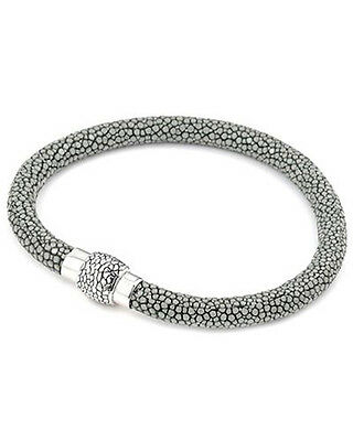 ALAN K Bracelet Grey Genuine stingray leather & 925 Sterling Silver  8in