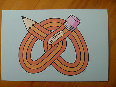 "Postcard....pretzel Pencil...name Tag ""birdy""...artistic Postcard..2011"