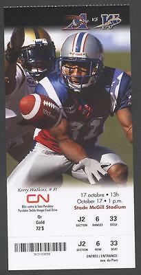 2010 MONTREAL ALOUETTES KERRY WATKINS CFL FOOTBALL TICKET vs BLUE BOMBERS