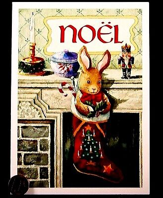 Bunny Rabbit Stocking Candy Mistletoe Noel Fireplace Christmas Greeting Card NEW