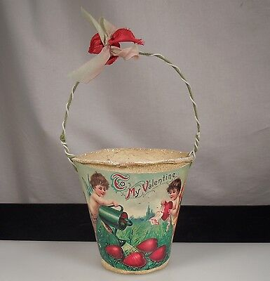 Vintage French Valentine Candy Container Basket