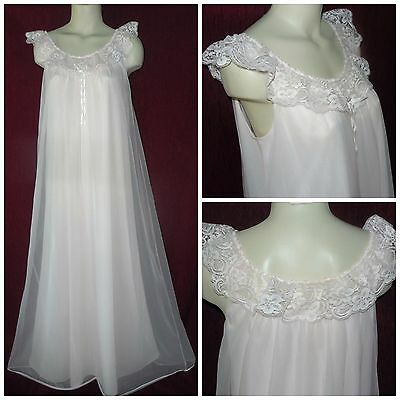 "Vtg M-L Bust 40Z""  Shadowline Pink Nylon/chiffon Long Floor Length Nightgown Us"