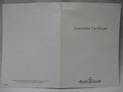 Jaeger LeCoultre Dated & Retail Stamped Watch Guarantee or Warranty Certificate