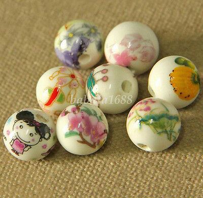 Lots 10Pcs Round Ceramic Flower Pattern Beads Loose Spacer Bead 12mm DIY Jewelry