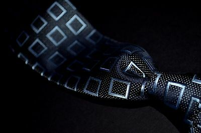Ermenegildo Zegna Steel Blue Silk Tie with Floating Squares and Pin Dots Italy