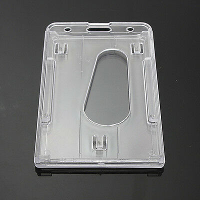 Vertical Hard Plastic Transparent Clear Badge Holder Double Card ID Cover Case